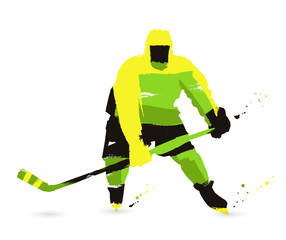 Ice hockey player on a white background. Sport concept