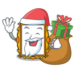 Santa with gift picture frame mascot cartoon