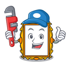 Plumber picture frame mascot cartoon