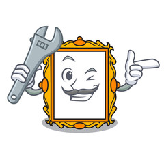 Mechanic picture frame mascot cartoon