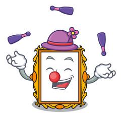 Juggling picture frame mascot cartoon