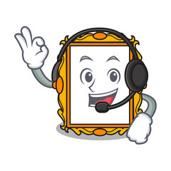 With headphone picture frame mascot cartoon