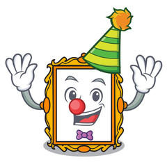 Clown picture frame mascot cartoon