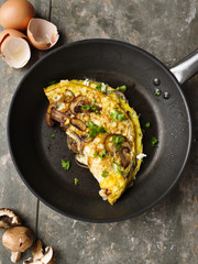 Omelett mit Pilzen - Omelette with mushrooms