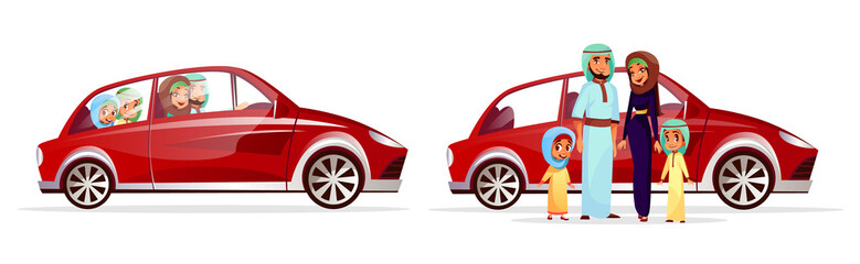 Arabian family car vector illustration. Cartoon Arab people characters of mother woman and father man with children or kids, daughter girl and son boy in traditional national clothing driving auto