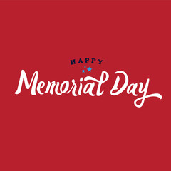 Happy Memorial Day Text Vector Illustration with Stars Over Red Background