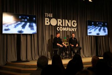 Elon Musk speaks at a Boring Company community meeting in Bel Air, Los Angeles