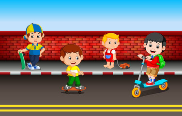 children's playing on the road