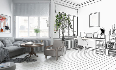 Möbliertes Wohnzimmer (Zeichnung)