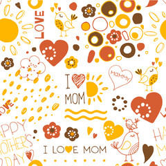 mothers day doodles seamless pattern