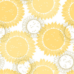 Sunflower graphic yellow color seamless pattern background sketch illustration vector