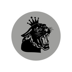 Black panther with crown on his head, gray round icon on white background,