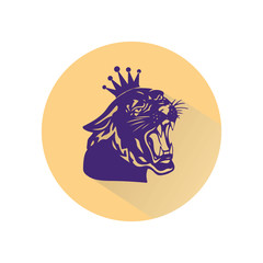 Blue panther with crown on his head and open mouth, beige round icon in a flat style on white background,
