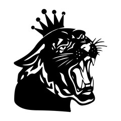 Black panther with crown on his head and open mouth, on white background,