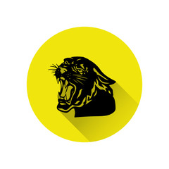 Black panther with crown on his head and open mouth, yellow round icon in a flat style on a white background,