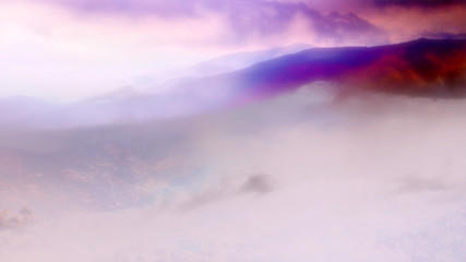 An abstract filtered watercolor background image of mountains.