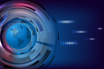 Abstract global technology blue background.