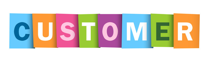 CUSTOMER colourful letters icon