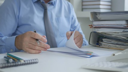 Businessman Image Reading Accounting Documents