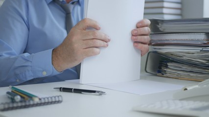 Businessman Image Sorting Accounting Documents