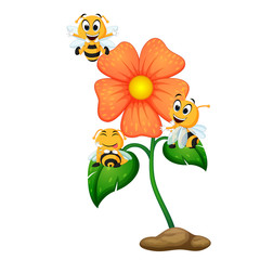 three bees flying over some flowers