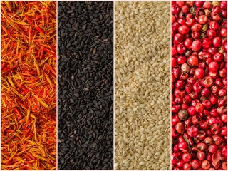 Photo of colorful mix stripes with spices backgrounds