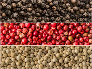 Three variations of peppercorns. Banners of spices