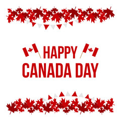 Happy Canada Day card, illustration with maple leaves borders and national canadian flags.