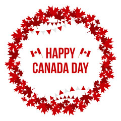 Happy Canada Day card, illustration with round maple leaves frame and national canadian flags.