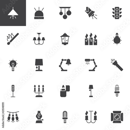 Light vector icons set, modern solid symbol collection