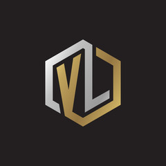 Initial letter VL, looping line, hexagon shape logo, silver gold color on black background