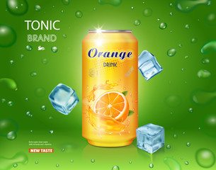 Orange soft drink contained in yellow metal can, ads design with ice cubes