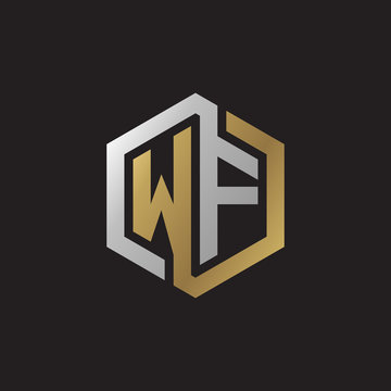 Initial letter WF, looping line, hexagon shape logo, silver gold color on black background