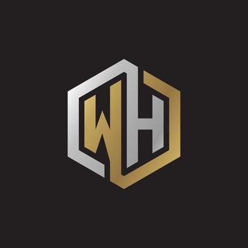 Initial letter WH, looping line, hexagon shape logo, silver gold color on black background
