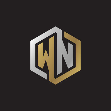 Initial letter WN, looping line, hexagon shape logo, silver gold color on black background
