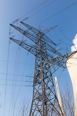 power pole with blue sky