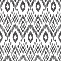 Foto op Plexiglas Boho Stijl Tribal pattern. Seamless background. Scribble texture. Black and white graphic design. Creative vector illustration. Ethnic boho ornament. Impressive fashion print.