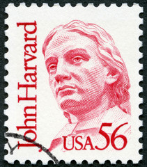USA - 1986: shows John Harvard (1607-1638), Great Americans
