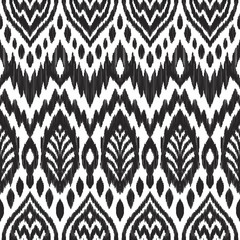 Foto op Textielframe Boho Stijl Tribal pattern. Seamless background. Scribble texture. Black and white graphic design. Creative vector illustration. Ethnic boho ornament. Impressive fashion print.