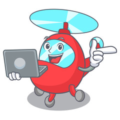 With laptop helicopter character cartoon style