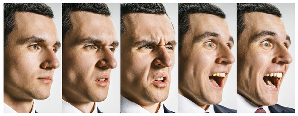 The collage of different human facial expressions, emotions and feelings.