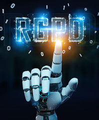 White cyborg hand using digital GDPR interface 3D rendering