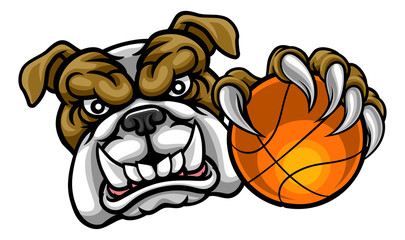 Bulldog Holding Basketball Ball Sports Mascot