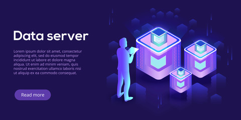Hosting server isometric vector illustration. Abstract datacenter or blockchain with man background. Network mainframe infrastructure website layout. Computer storage or farming workstation.