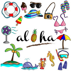 Vector and illustration hand drawing style Summer icon with Aloha under the sea and beach concept