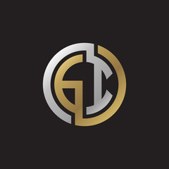 Initial letter GI, looping line, circle shape logo, silver gold color on black background