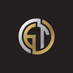 Initial letter GT, looping line, circle shape logo, silver gold color on black background