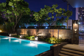 Lighting business for luxury backyard swimming pool.  Relaxed lifestyle with contemporary design by professionals.
