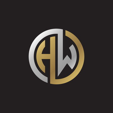 Initial letter HW, looping line, circle shape logo, silver gold color on black background