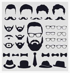 Hipster style icon set - Mustache, glasses, hats collection
